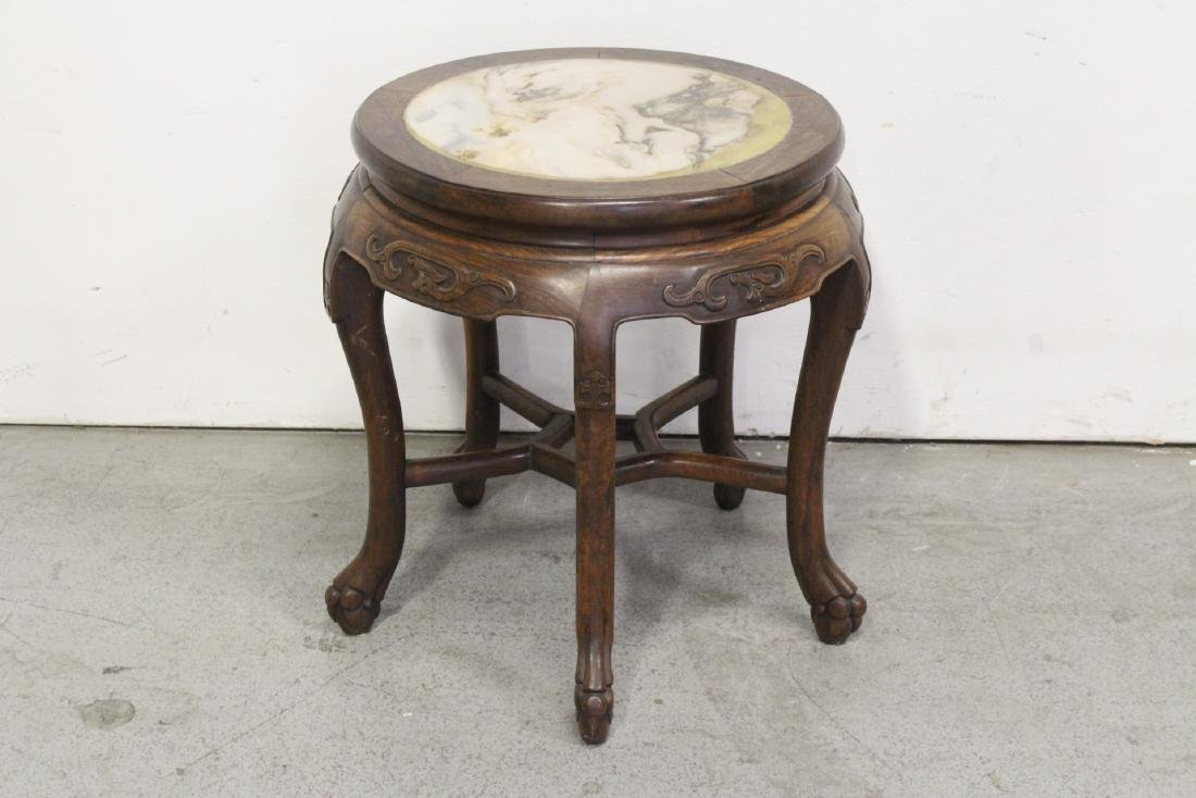 Chinese antique rosewood table with marble inset - 6