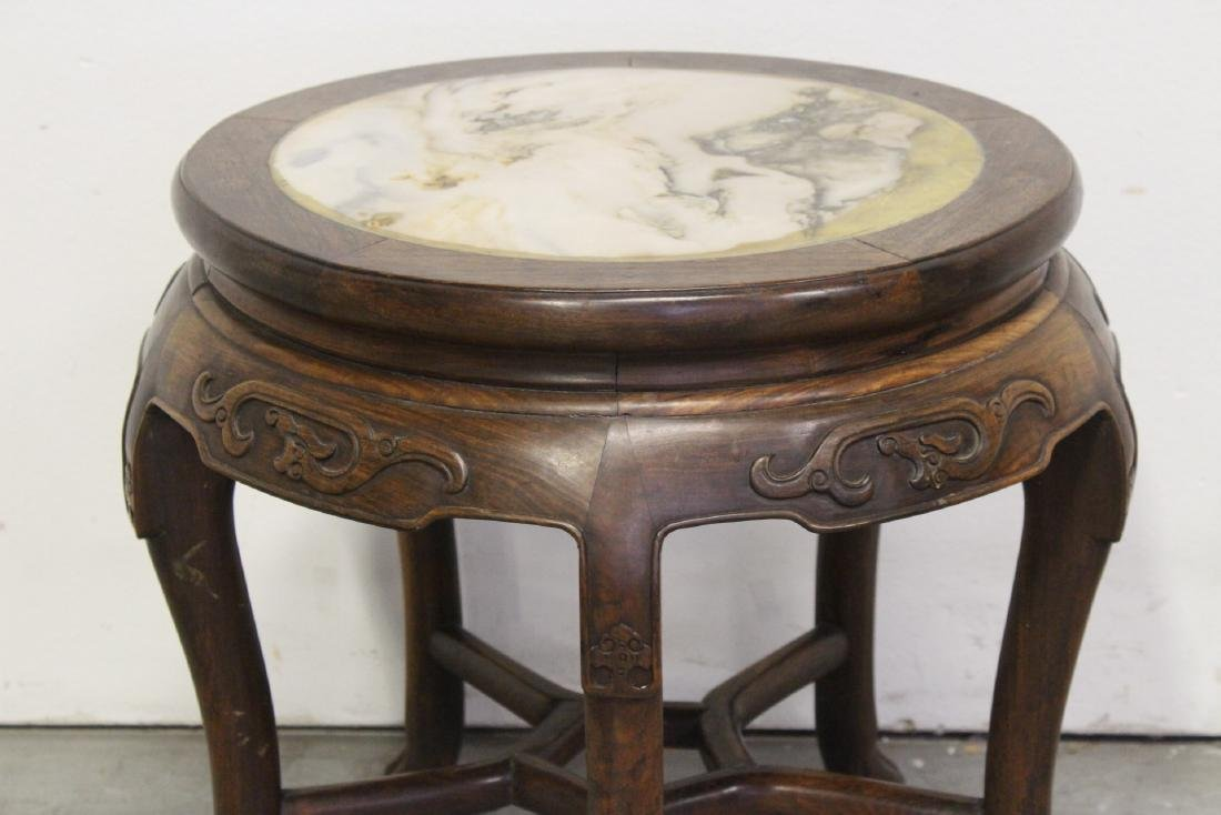 Chinese antique rosewood table with marble inset - 7