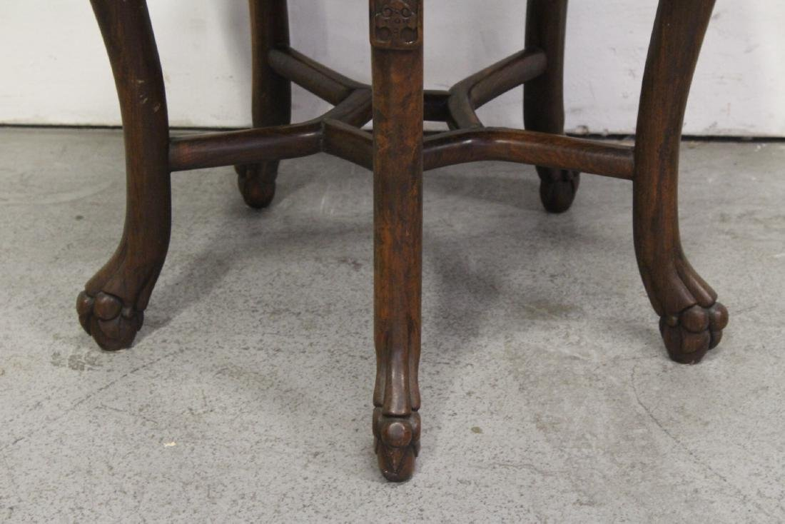 Chinese antique rosewood table with marble inset - 8