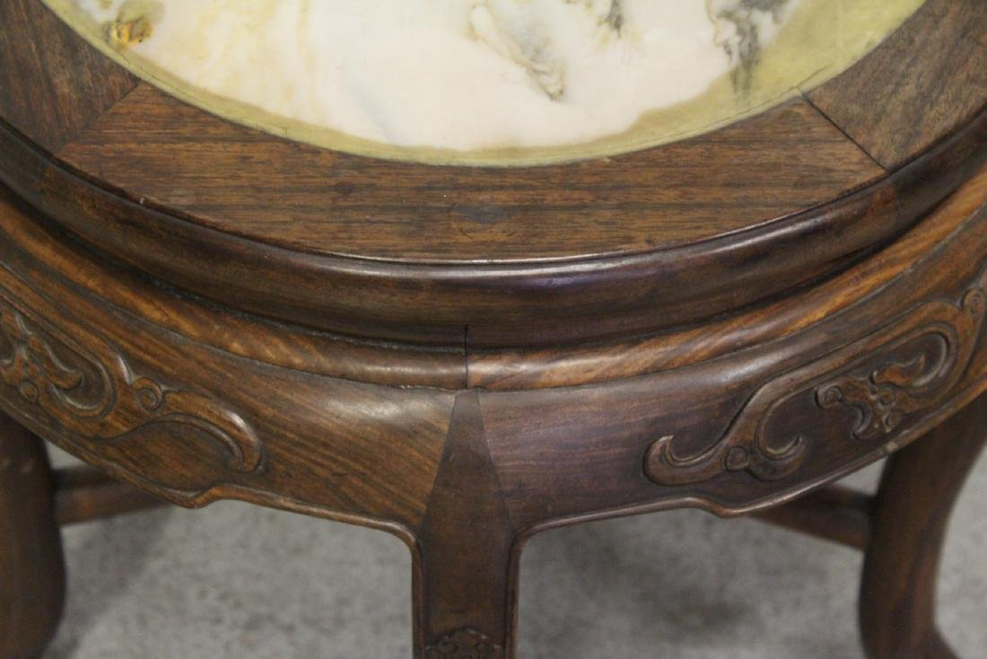 Chinese antique rosewood table with marble inset - 9