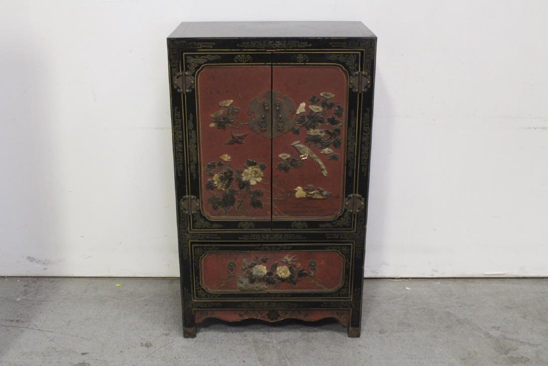 Chinese lacquer cabinet with stone overlay