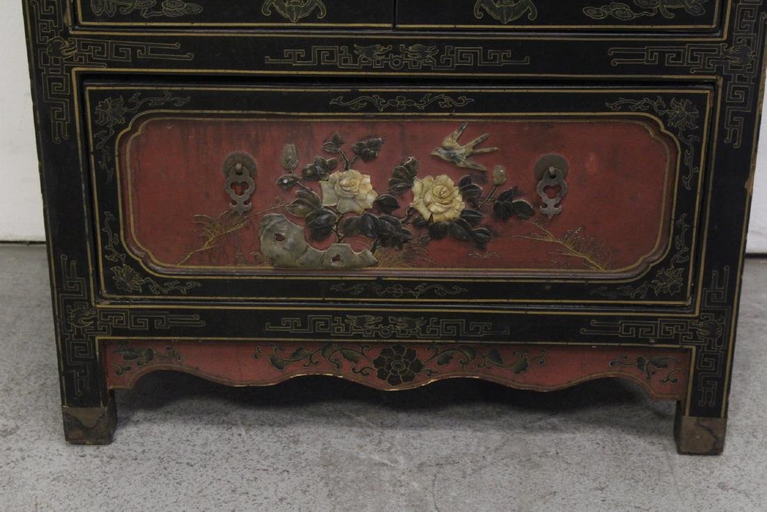 Chinese lacquer cabinet with stone overlay - 3