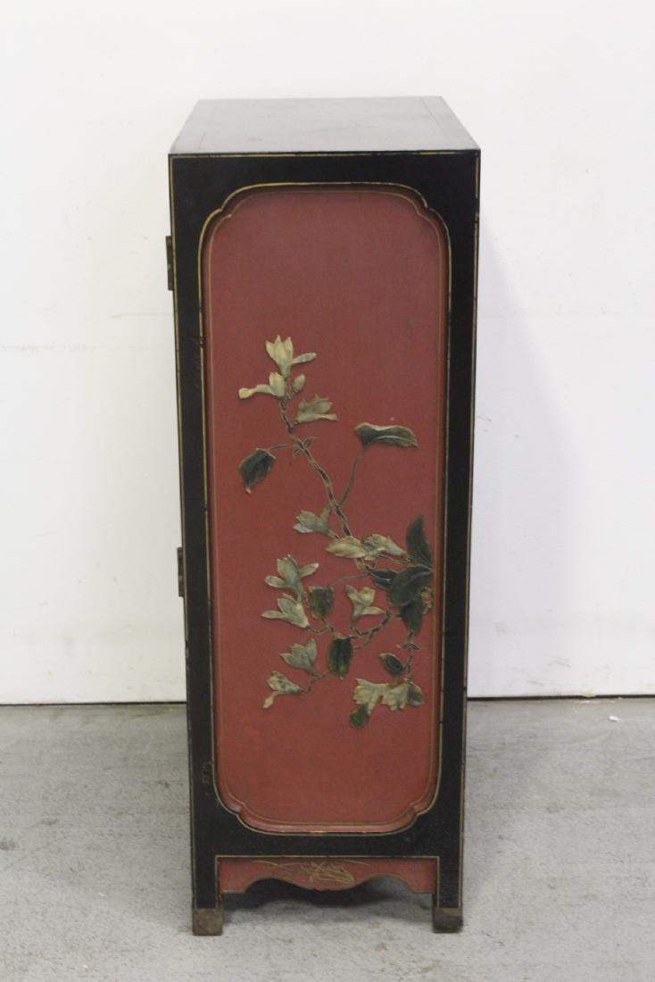 Chinese lacquer cabinet with stone overlay - 6