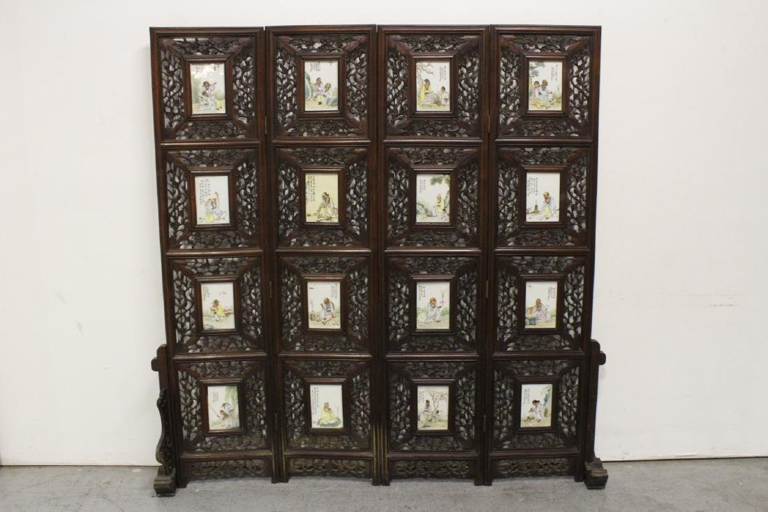 Chinese rosewood screen with 16 porcelain plaques