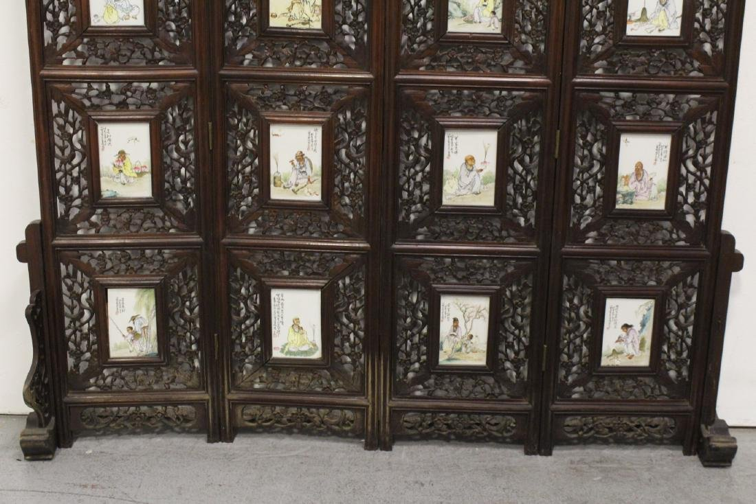 Chinese rosewood screen with 16 porcelain plaques - 3