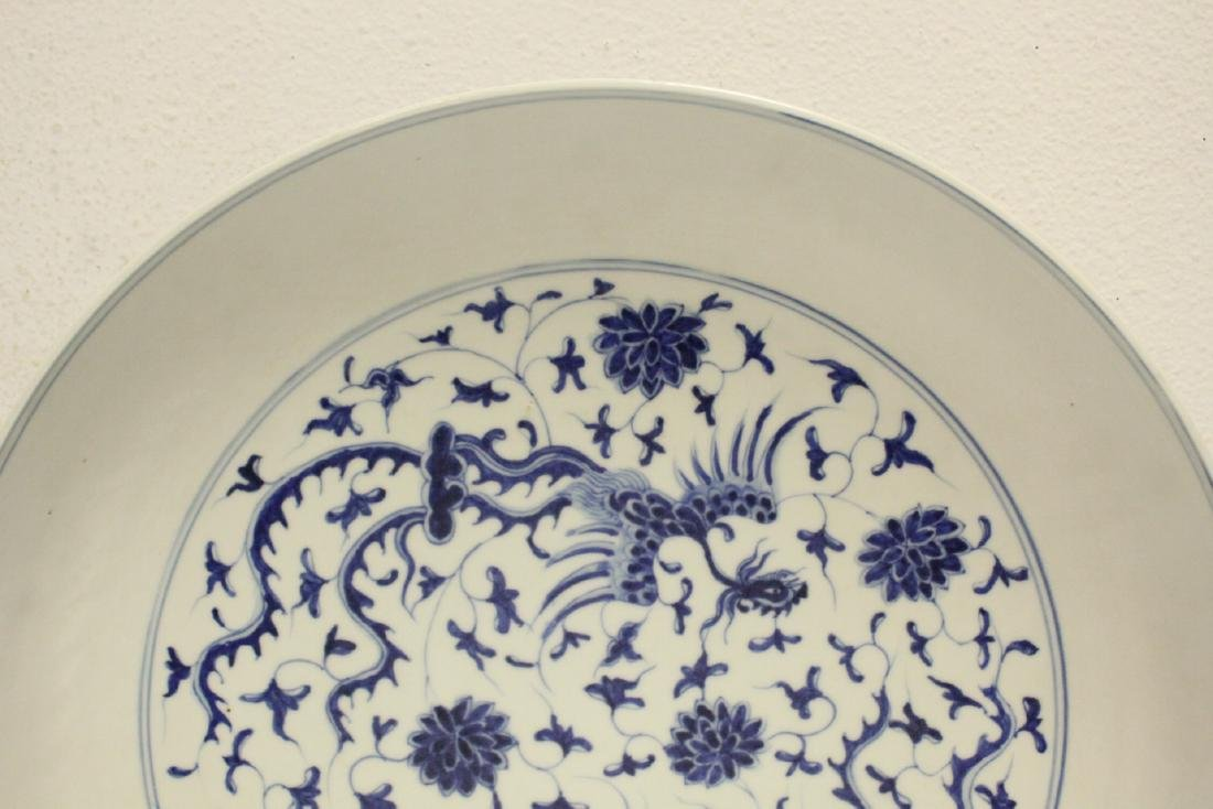 Chinese blue and white porcelain large plate - 2
