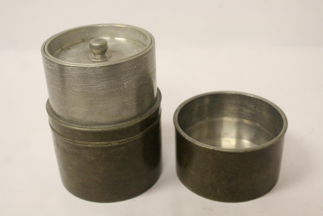 Chinese antique pewter tea caddy