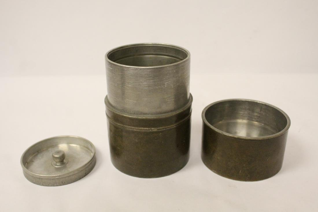 Chinese antique pewter tea caddy - 2