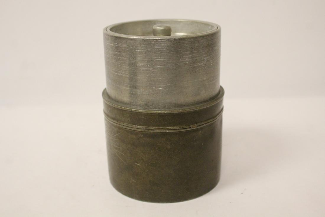 Chinese antique pewter tea caddy - 3