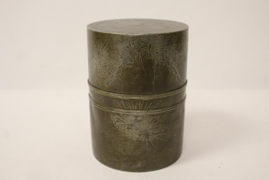 Chinese antique pewter tea caddy - 4