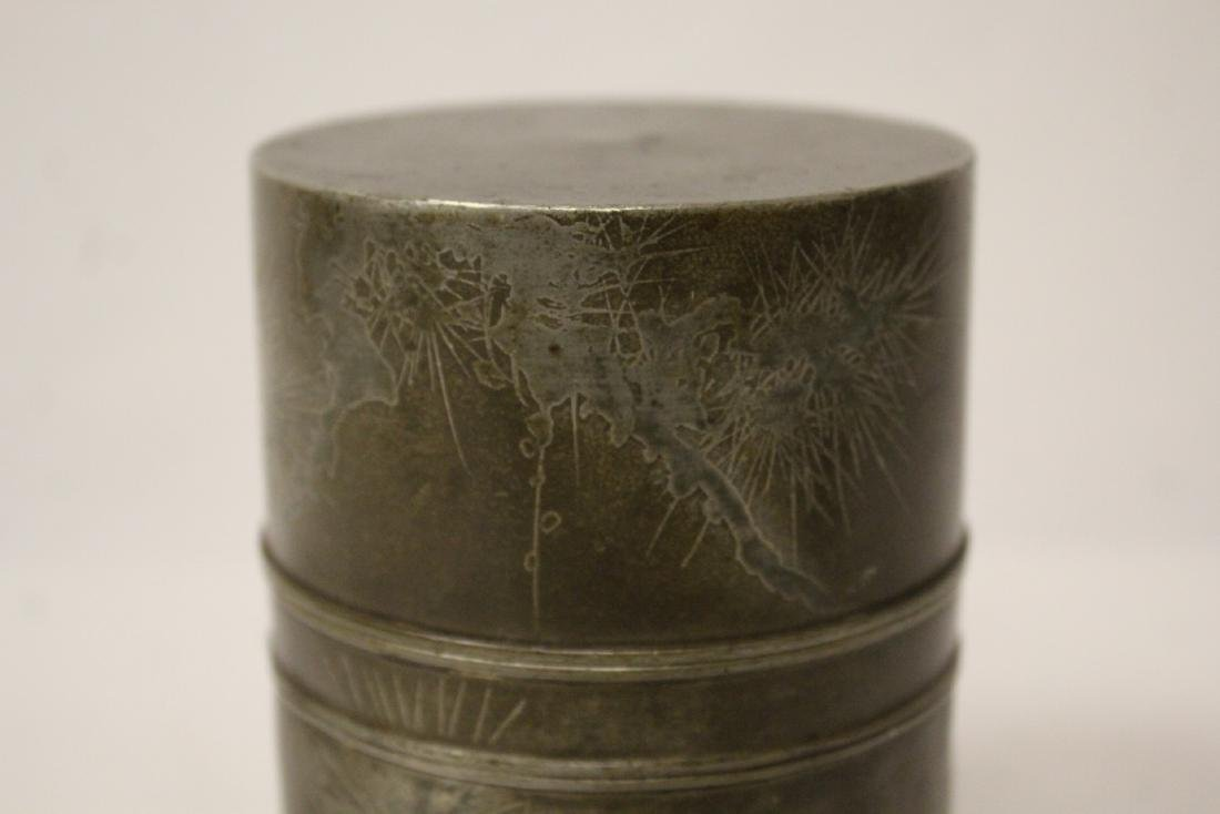 Chinese antique pewter tea caddy - 6