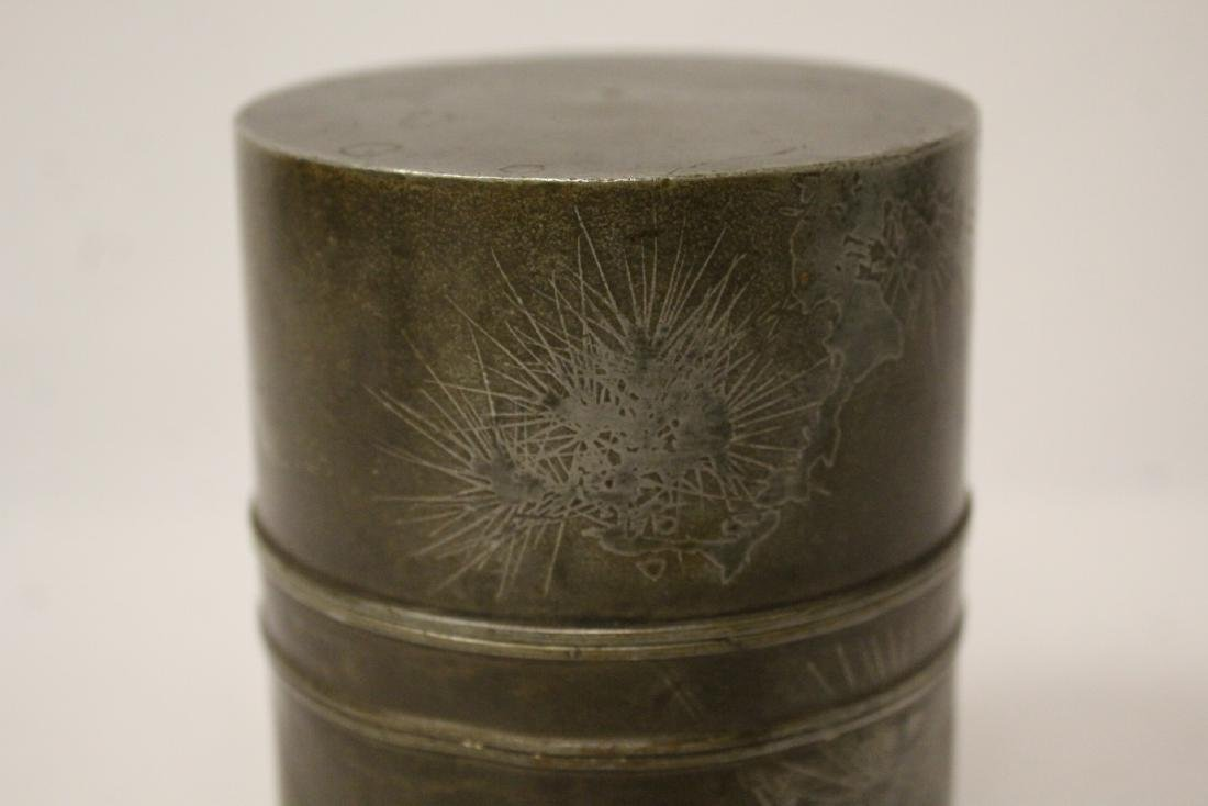 Chinese antique pewter tea caddy - 7