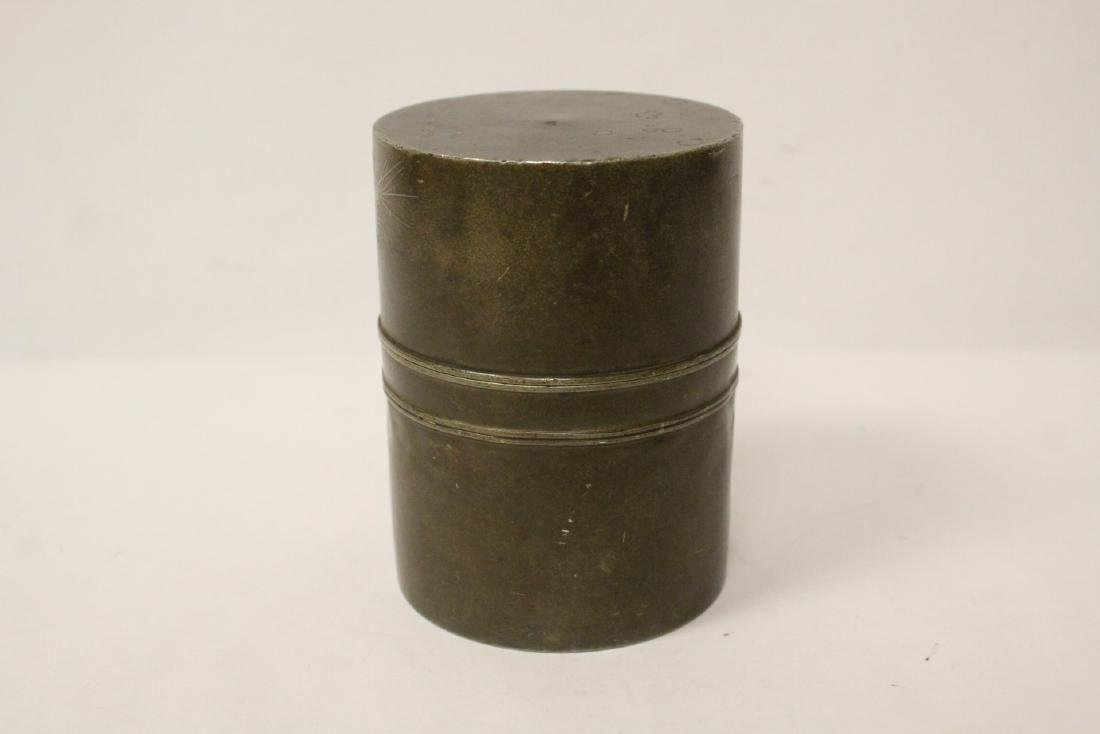 Chinese antique pewter tea caddy - 9