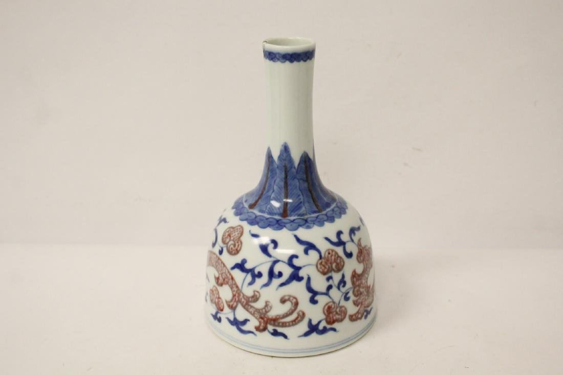Chinese blue, red and white porcelain bottle vase - 5