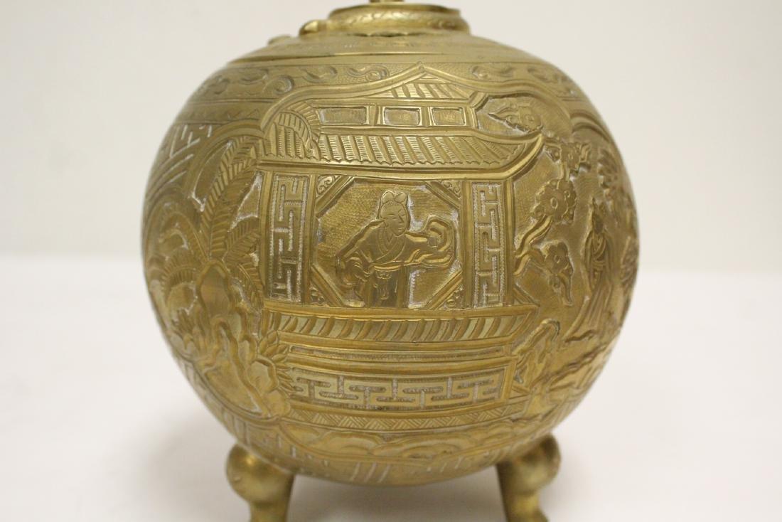 Chinese bronze round covered censer - 10
