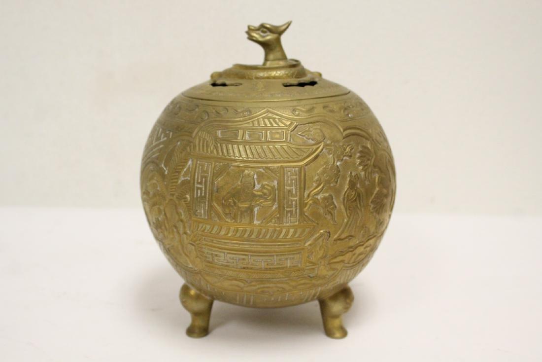 Chinese bronze round covered censer