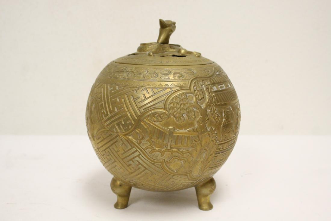 Chinese bronze round covered censer - 3