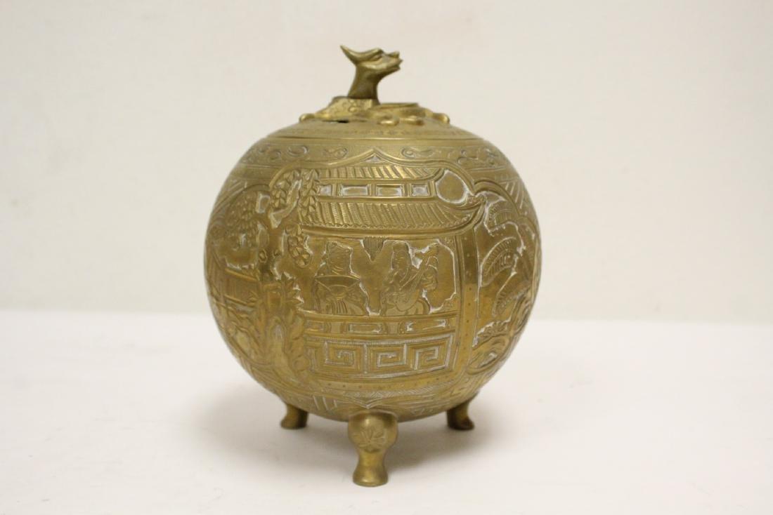 Chinese bronze round covered censer - 4