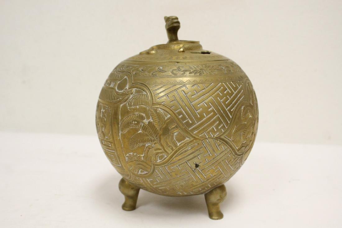 Chinese bronze round covered censer - 5