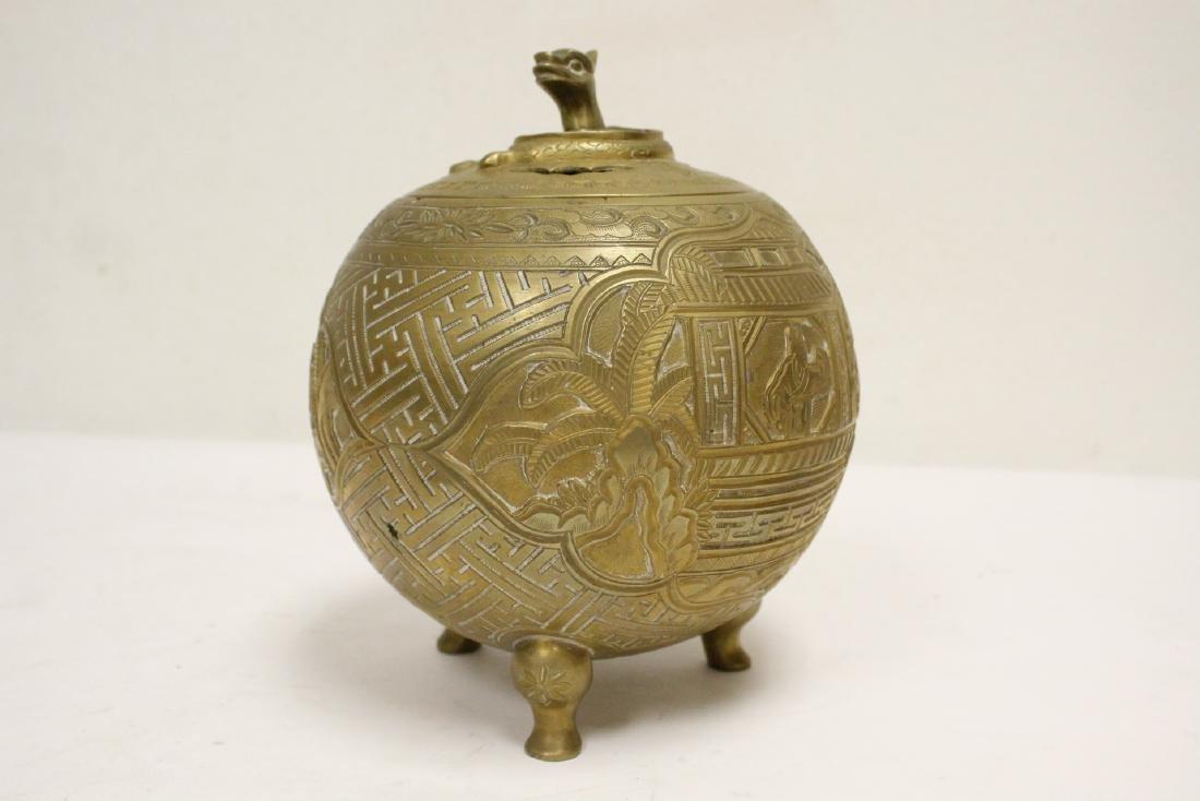 Chinese bronze round covered censer - 6