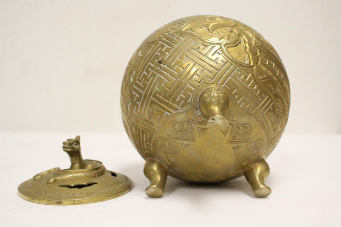 Chinese bronze round covered censer - 9