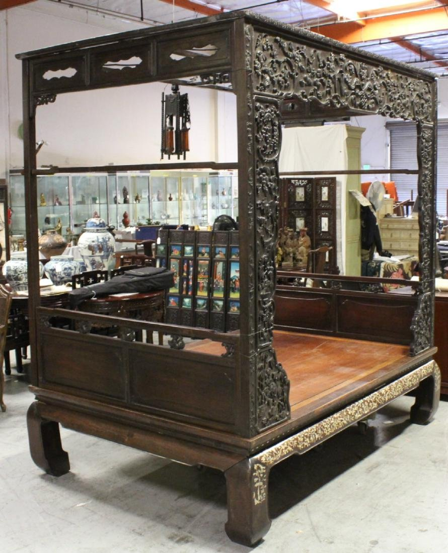 Chinese 18th/19th c. heavy rosewood canopy bed