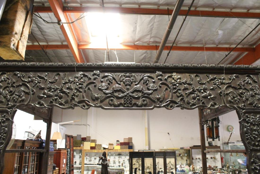 Chinese 18th/19th c. heavy rosewood canopy bed - 5