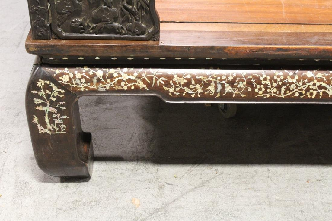 Chinese 18th/19th c. heavy rosewood canopy bed - 9