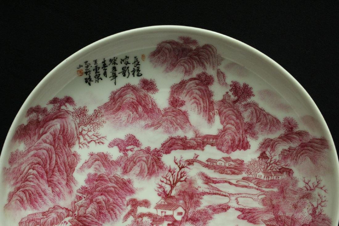 red and white porcelain plate with calligraphy - 2