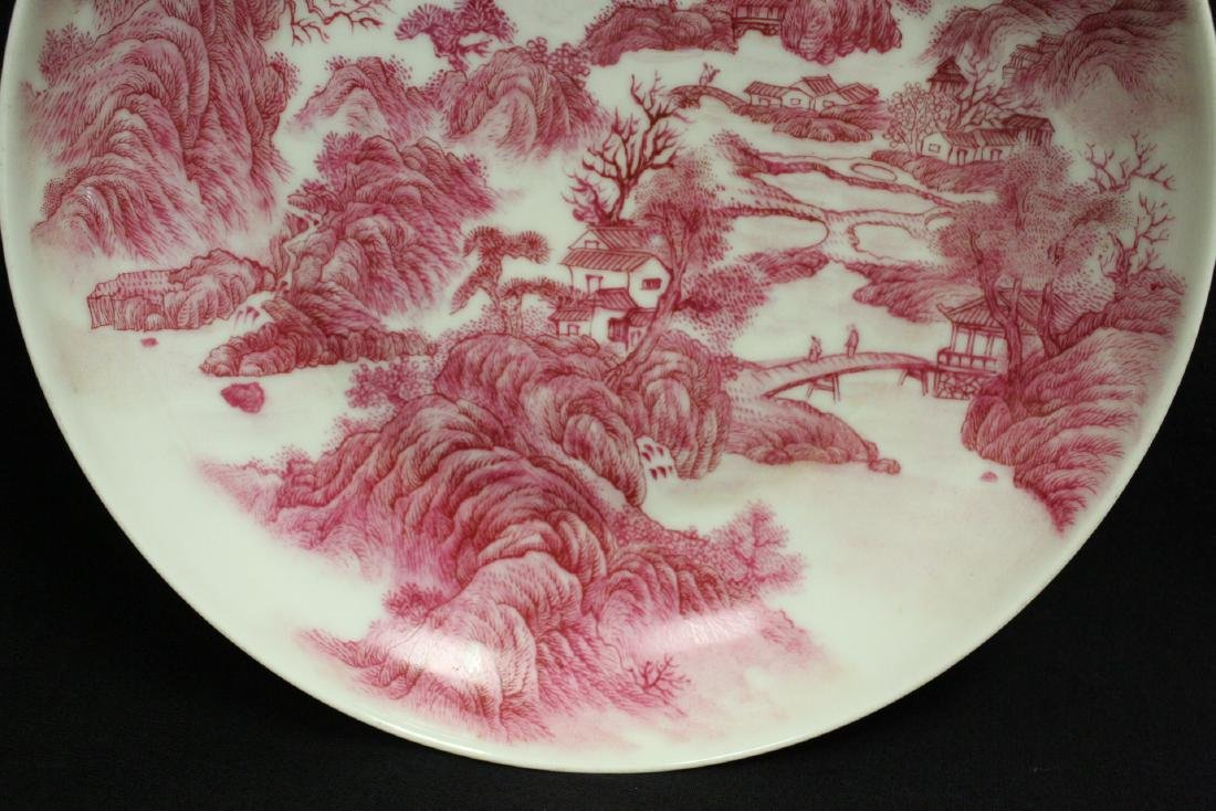 red and white porcelain plate with calligraphy - 5