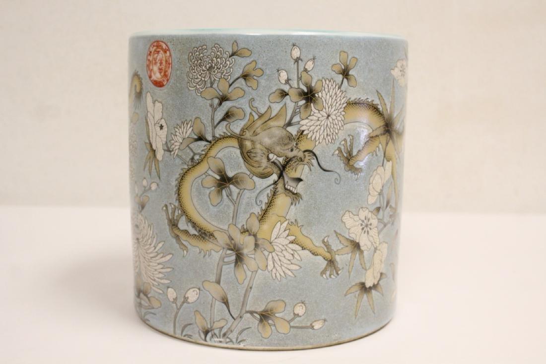 A large famille rose porcelain brush holder - 3