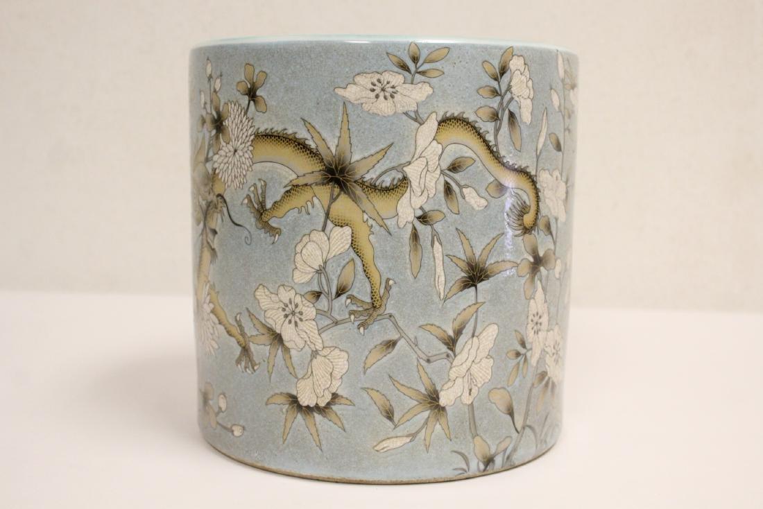 A large famille rose porcelain brush holder - 4