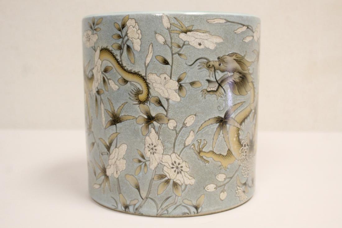 A large famille rose porcelain brush holder - 5