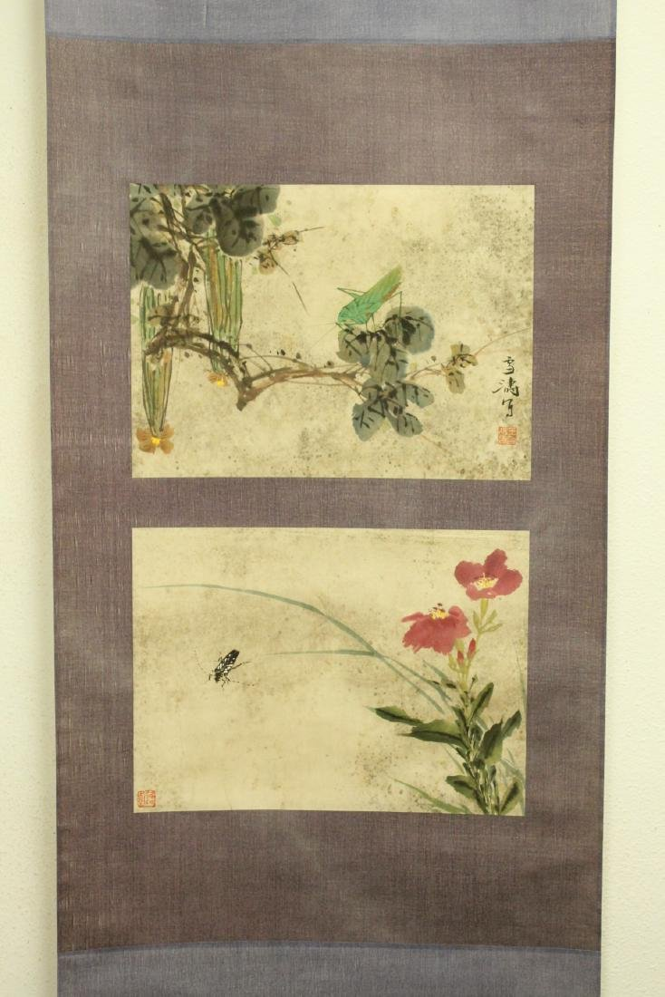 "Chinese watercolor scroll ""flowers and bugs"""