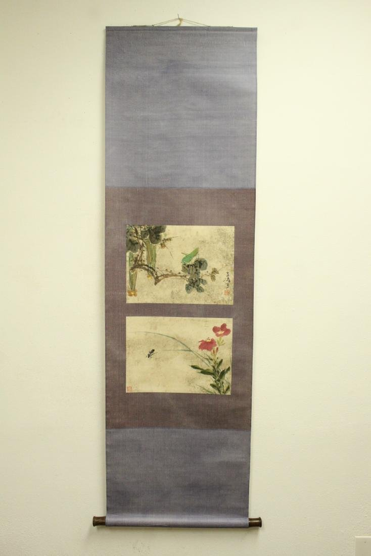 "Chinese watercolor scroll ""flowers and bugs"" - 2"