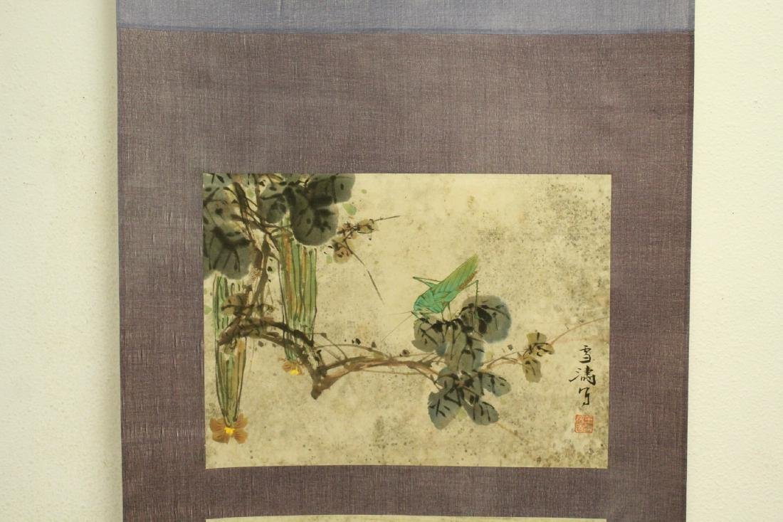 "Chinese watercolor scroll ""flowers and bugs"" - 3"