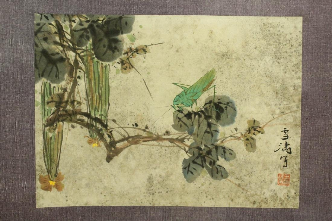 "Chinese watercolor scroll ""flowers and bugs"" - 4"