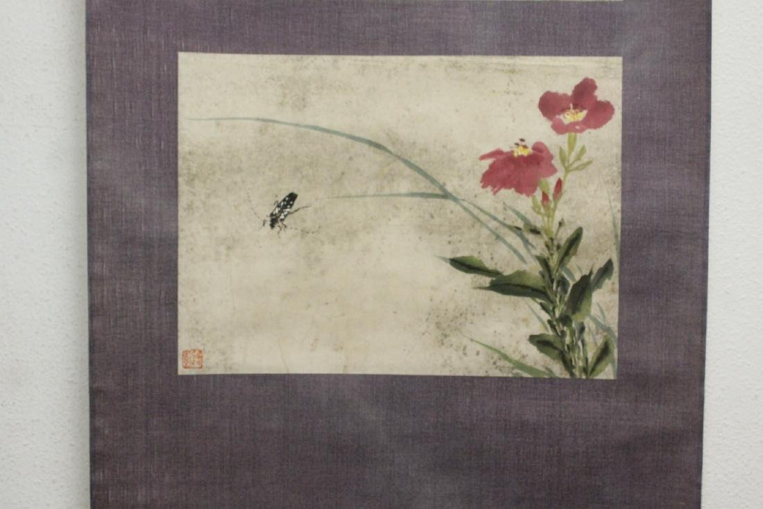 "Chinese watercolor scroll ""flowers and bugs"" - 7"