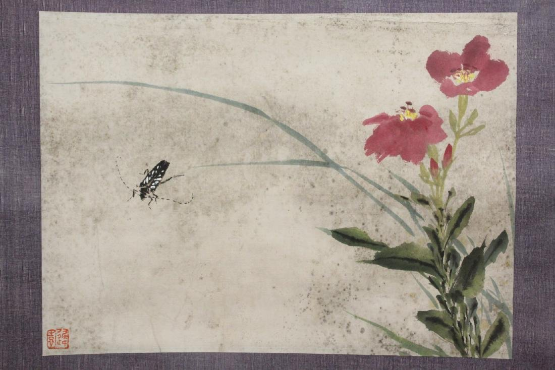 "Chinese watercolor scroll ""flowers and bugs"" - 8"