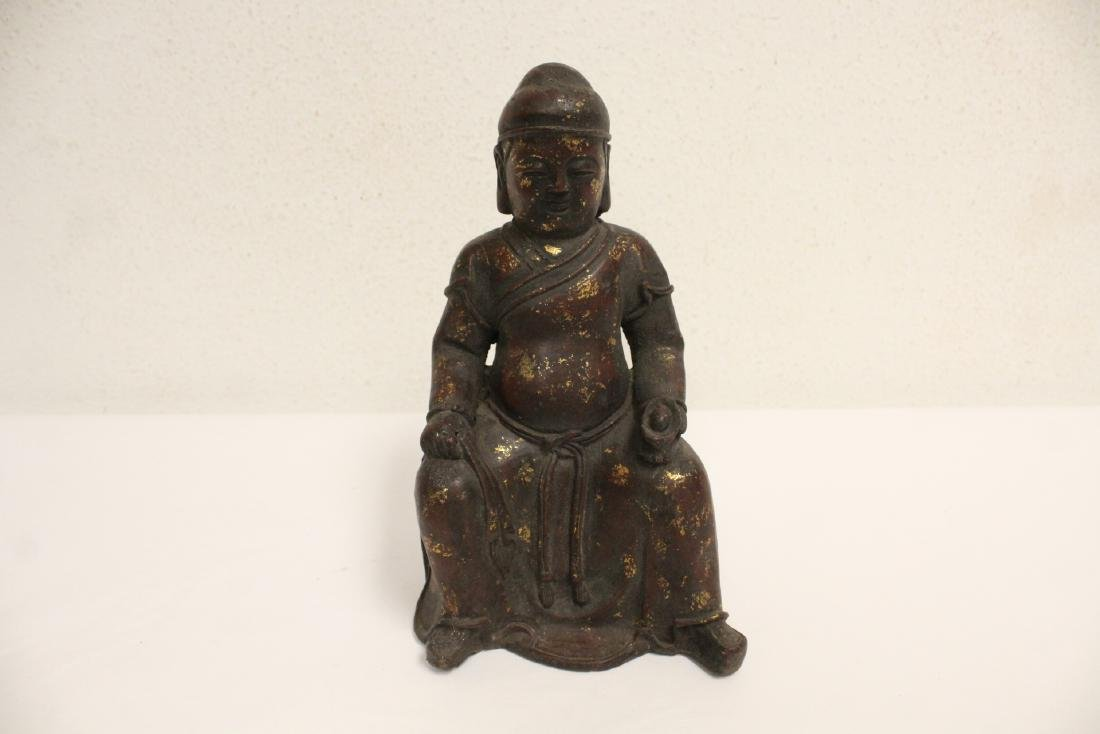 Chinese bronze sculpture of seated monk