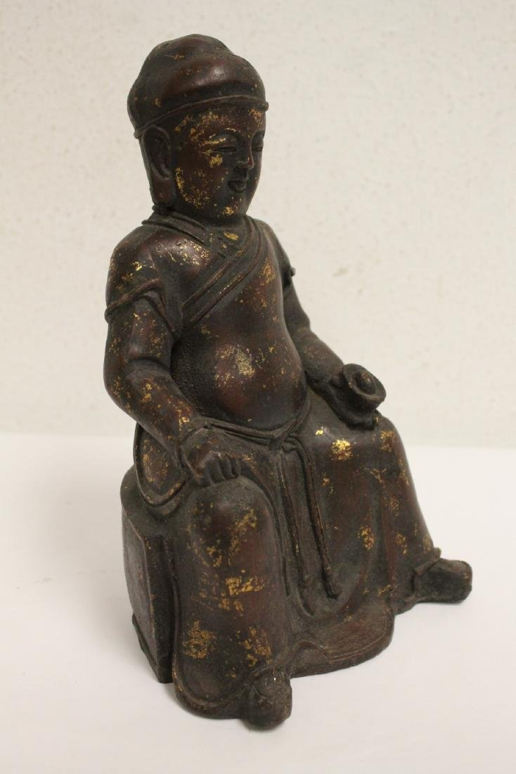 Chinese bronze sculpture of seated monk - 6