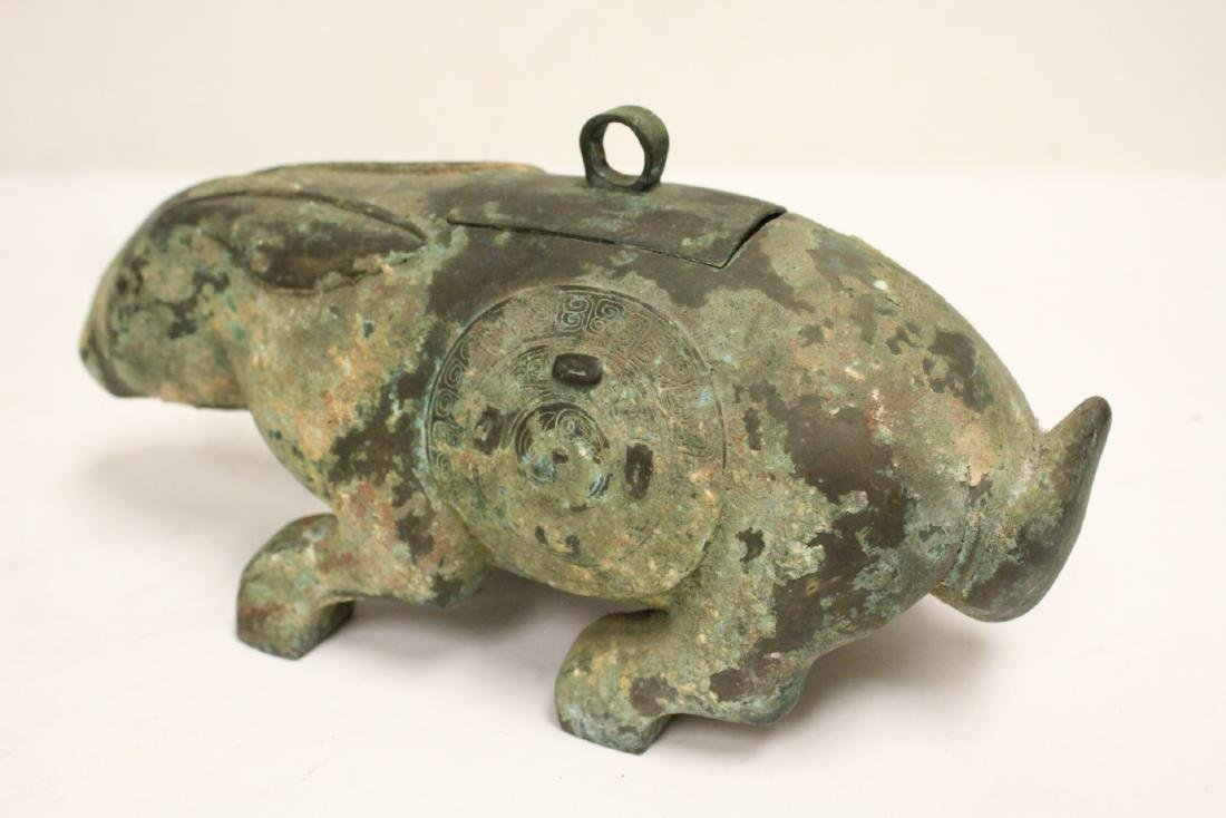 Unusual Chinese archaic style bronze censer - 10