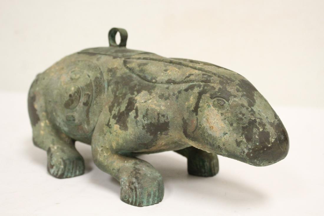 Unusual Chinese archaic style bronze censer - 4