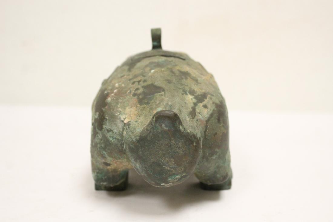 Unusual Chinese archaic style bronze censer - 6