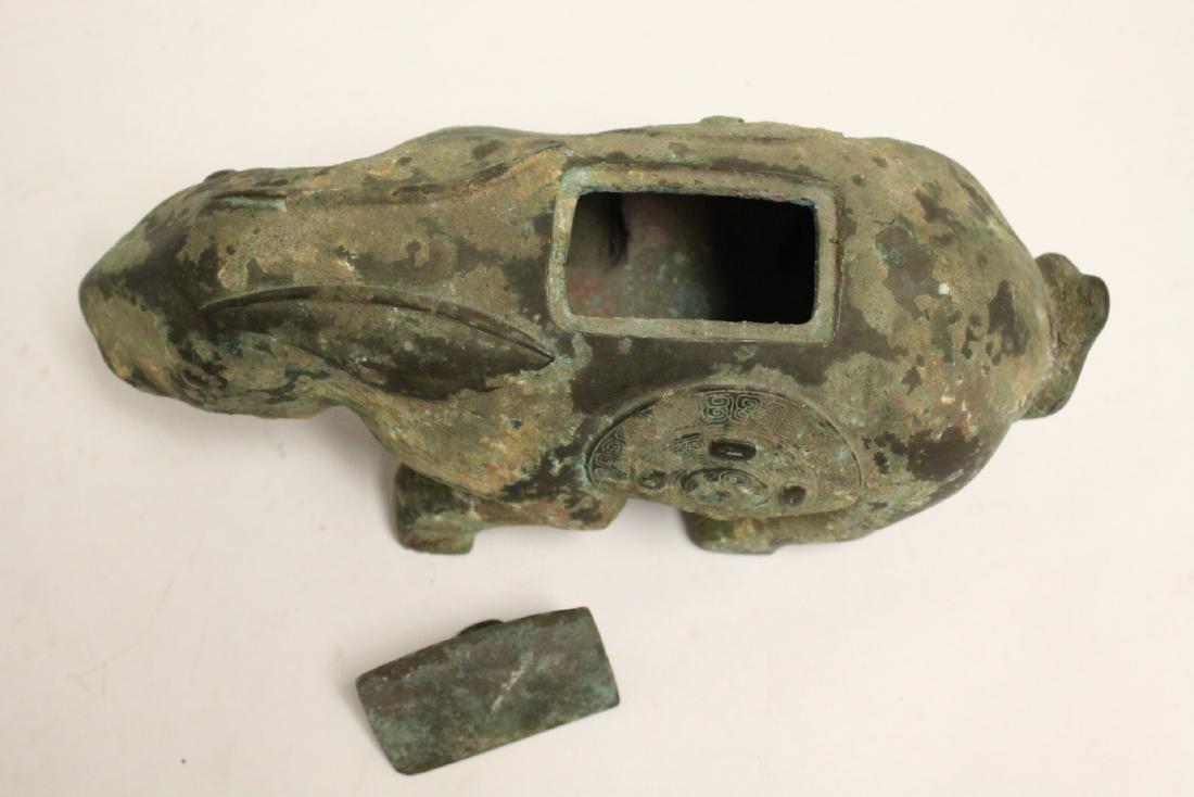 Unusual Chinese archaic style bronze censer - 8
