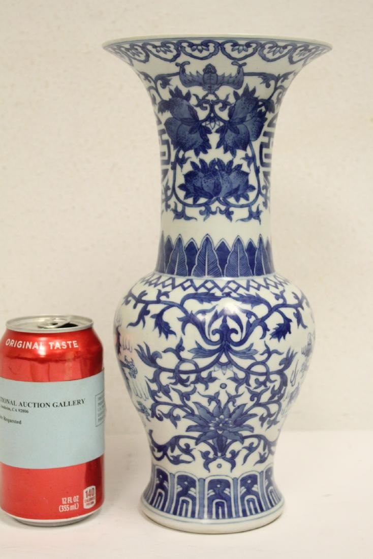 Chinese blue and white porcelain trumpet vase - 2