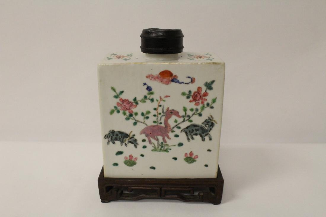 Chinese famille rose porcelain tea caddy