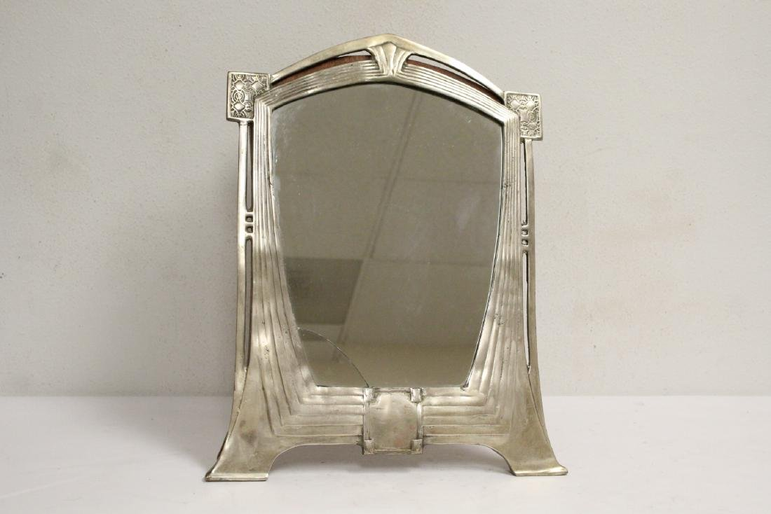 art deco aluminum framed table mirror