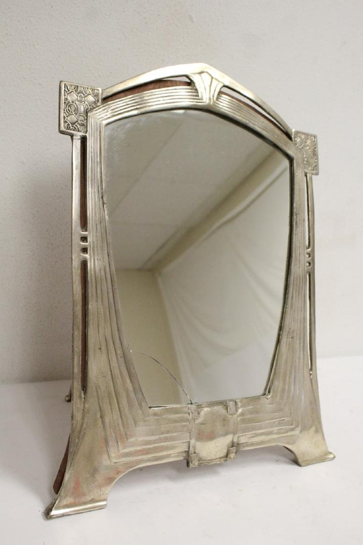 art deco aluminum framed table mirror - 4