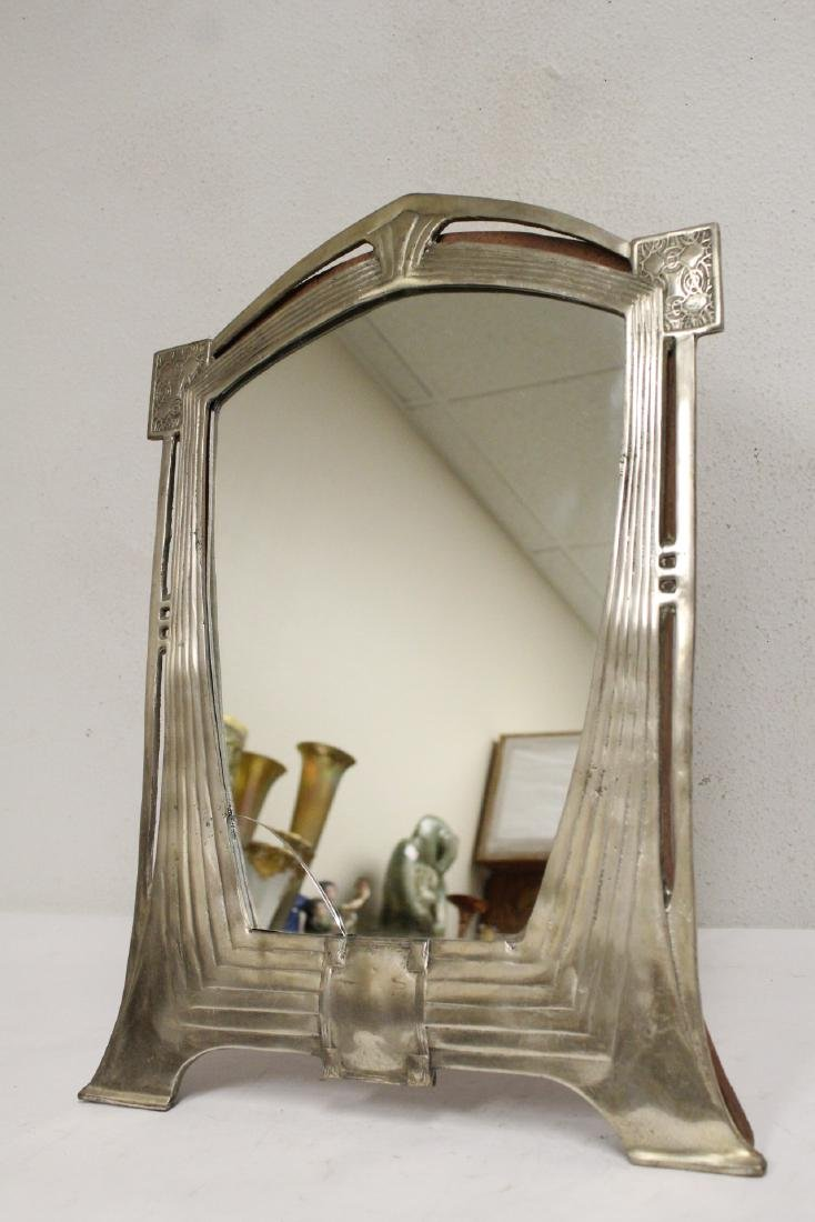 art deco aluminum framed table mirror - 5